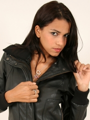 Polliana looking cool in a black leather jacket.
