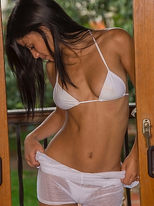 Denise Gomez in White String Bikini
